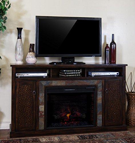 Sunny Designs K3489DC-66F Santa Fe Fireplace Media Console with Firebox Santa Fe Media Cabinet