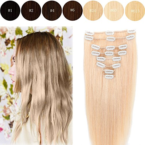 8pcs Clips in Human Hair Extensions Grade 7 Brazilian Remy Hair for Women Daily Use- 22''Long /110g Natural Blonde (Simpsons Halloween 22)