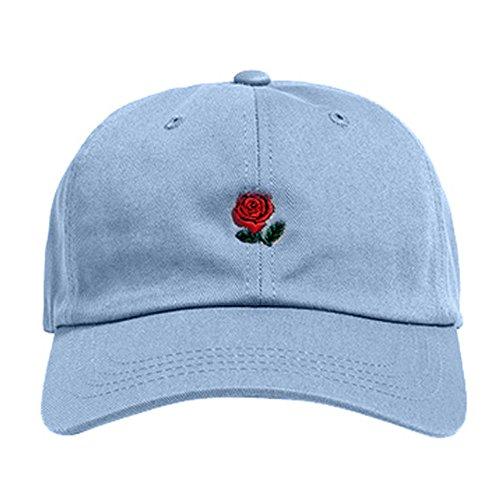 (m·kvfa Embroidery Cotton Baseball Cap Boys Girls Snapback Hip Hop Flat Hat Casual Adjustable Trucker Hat Fisherman Hat Outdoor Sport Caps (Light Blue))