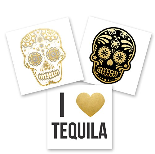 CINCO DE MAYO VARIETY SET of 24 assorted premium waterproof metallic gold, silver and black jewelry temporary foil party Flash Tattoos - skull, tequila, sugar skull tattoo, party favor, metallic -