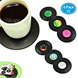 Veogo Drink Coasters Decorative, Vintage Vinyl Record Disk Table Cup Pad for Hot and Cold Beer Beverage,Set of 6 Cup Mat Black (6(B))
