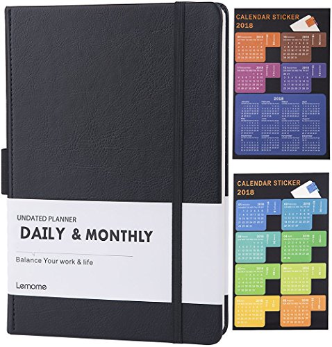 "Undated Daily & Monthly Planner + 2018 Calendar Stickers to Improve Productivity, Premium Thick Paper, Pen Holder, 5.75"" x 8.25"", Inner Pocket, 6 months at least - Lemome"
