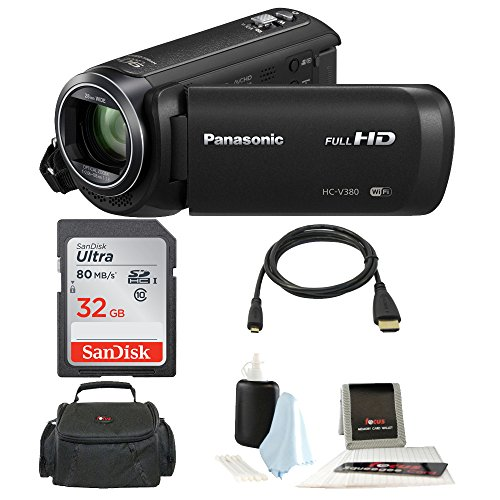 Panasonic HC-V380K Full HD 1080p Camcorder w/ Memory Card and Accessory Bundle (32GB Essentials Bundle) by Panasonic