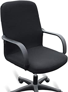BTSKY Office Computer Chair Covers Stretchy- Polyester Desk Chair/Rotating Chair Cover Black (Large)