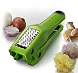 Simposh Garlic Press | Easy Clean Garlic Press Mincer Crusher with Removable Stainless Steel Press Plate | Efficient No Peel Garlic Press | Patented Easy Squeeze Mechanism | Color Green