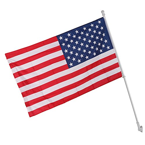 Bolt Direct Wall - ZENY 6ft Tangle Free Spinning Flagpole,Brushed Aluminum Wall Mounted Flag Pole w/American Flag & Top Ball Kit