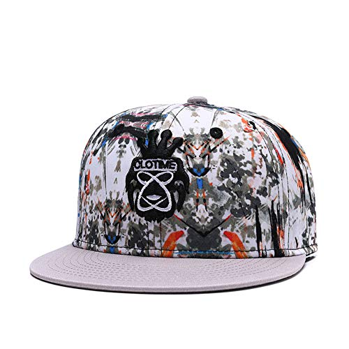 CLOTIME Graffiti Snapback Hats for Men Women Flat Bill Brim Running Baseball Cap Hip Hop Dad Trucker Summer Hat (Beige) (Trukfit Cap)