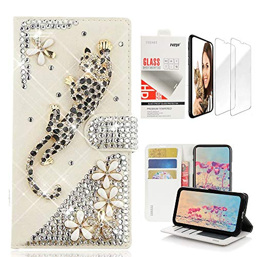 STENES Bling Wallet Case Compatible with iPhone Xs Max - 3D Handmade Leopard Flowers Design Leather Case with Wrist Strap & Screen Protector [2 Pack] - Gold