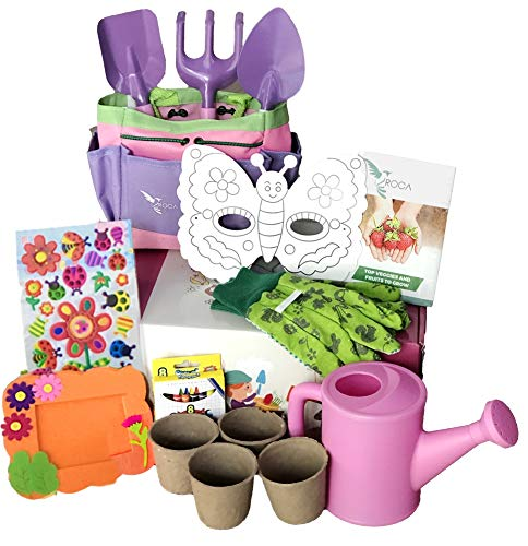 Kids Gardening Tools Pink, Gardening Gloves with Gardening Activity Box. Seedling Planters, STEM Guide, Gardening Activities by ROCA Toys Learning Toys (Toy Preschool Box)