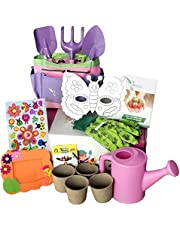 Pink Gardening Tools for Kids with STEM Early Learning Guide by ROCA Toys. Garden Tools Toys, Outdoor Toys and Learning Toys. Cute Pink and Purple Garden Bag.