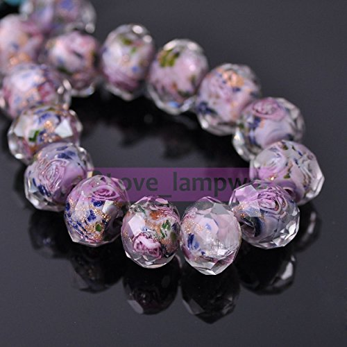Gray Purple 20Pcs 12mm Flowers Rondelle Faceted Lampwork Glass Loose Spacer Beads Jewelry (Rondelle Lampwork Beads)