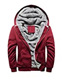 FOURSTEEDS Women's Solid Hooed Hoodies Thick Wool Lining Warm Winter Jacket Coats Red US 6