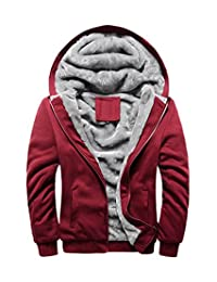 FOURSTEEDS Women's Solid Hooed Hoodies Thick Wool Lining Warm Winter Jacket Coats