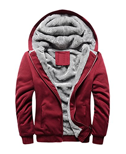 FOURSTEEDS Women's Solid Hooed Hoodies Thick Wool Lining Warm Winter Jacket Coats Red US 8