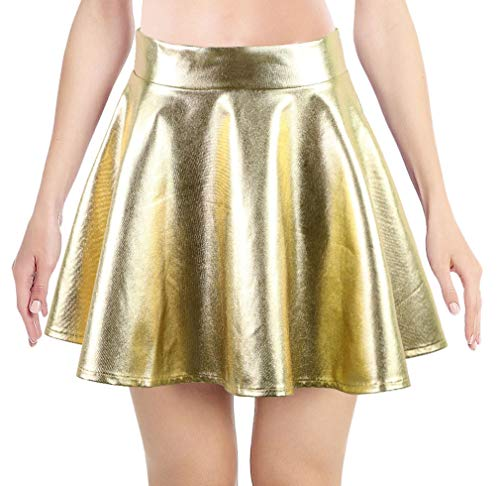 Women's Liquid Metallic Skirt Wet Look Flared Skater Skirt Dress, -