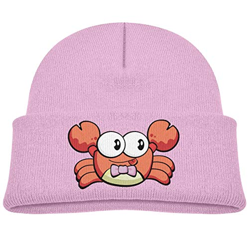 Kids Knitted Beanies Hat Cartoon Crab Winter Hat Knitted Skull Cap for Boys Girls Pink ()