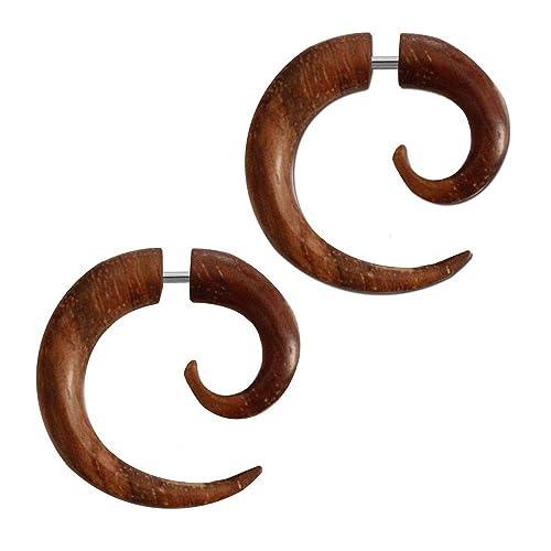 tumundo 2 Finto Espirales Estensor Falso Piercing Wood ...