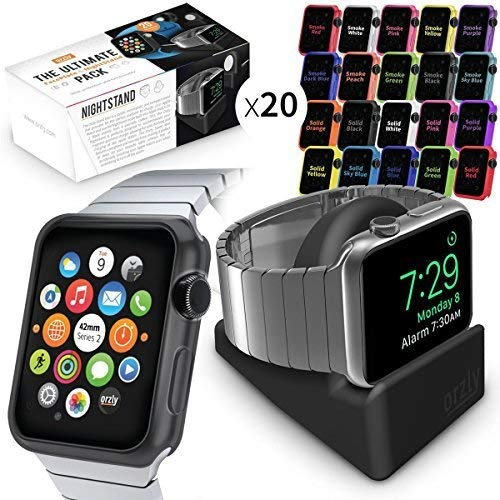 Orzly Watch Series 3 Pack, Ultimate Pack for Apple Watch Series 3 & Series 2 (42 MM) - Includes Compact Stand and 20 FacePlates [Protective Apple Watch 3 Cases] in Assorted Colour Multi-Pack ()