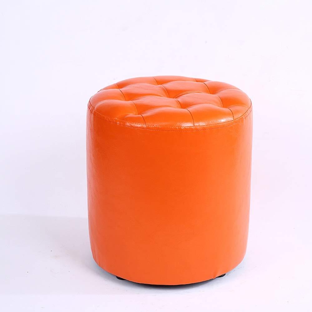 orange BOOSC Fashion Stool Leather Stool Home Creative Sofa Stool Wear Makeup Stool Stool Multifunctional Wood shoes Bench (color   Yellow)