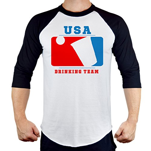 Men's USA Beer Pong Drinking Team Tee B925 PLY Raglan Baseball T-Shirt (Us Beer Drinking Team)