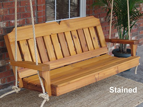 THREE MAN Victorian Cedar Porch Swing with Hanging Rope and Cupholders - 6 Foot Stained