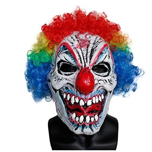 x-merry toy Adult Mask Mens Evil Scary Last Laugh Clown Prop Factory With Party Supplies