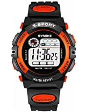 Teen Girls Watch, Multifunction Digital Large Dial LED Alarm Date Waterproof Sports Military Wrist Watch Orange