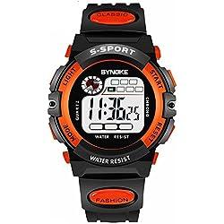 Men's Watch, Patedan Multifunction Digital Large Dial LED Alarm Date Waterproof Sports Military Wrist Watch (Orange)
