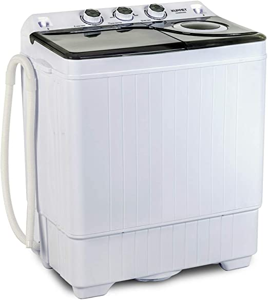 Amazon.com: KUPPET Compact Twin Tub Portable Mini Washing Machine 26lbs Capacity, Washer(18lbs)&Spiner(8lbs)/Built-in Drain Pump/Semi-Automatic (White&Gray): Appliances