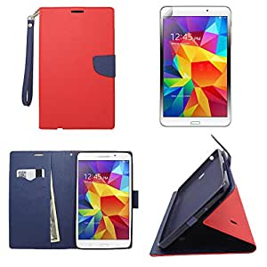 Phonelicious® For SAMSUNG GALAXY TAB 4 7.0 7inch PU Leather Wallet Hybrid Magnet Flip Fancy Diary Case Tpu Skin Cover with Hand Strap + Premium Screen Protector Combo & Phonelicious® Stylus Pen (Red / Navy blue Leather Wallet)