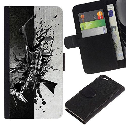 Funny Phone Case // Cuir Portefeuille Housse de protection Étui Leather Wallet Protective Case pour Apple Iphone 6 /Black & White Résumé/