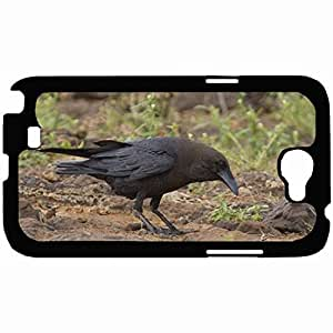 Customized Back Cover Case For Samsung Galaxy Note 2 Hardshell Case, Black Back Cover Design Crow Personalized Unique Case For Samsung Note 2