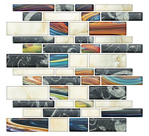 Self Install Tiles Stick (Stick On Tiles for Backsplash Kitchen | Self-Stick Backsplash Tiles | Peel and Stick, Self Adhesive, Removable Backsplash Wall Tile Stickers - 10