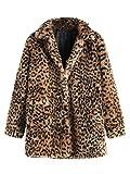 SweatyRocks Women Khaki Hooded Dolman Sleeve Faux Fur Cardigan Coat for Winter (Large, Leopard)