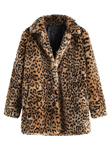 SweatyRocks Women Khaki Hooded Dolman Sleeve Faux Fur Cardigan Coat for Winter (Medium, Leopard) - Leopard Faux Fur Coat