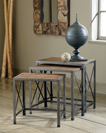 Ashley Furniture Signature Design - Vennilux Nesting End Tables - 3 Piece Table Set - Gray Brown Finish