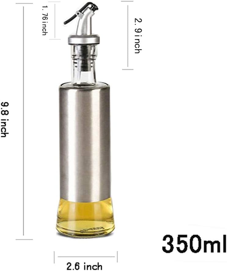 KA10011 W/·Z 11oz Glass Olive Oil Dispenser Stainless Protection Soy Sauce Vinegar Bottle