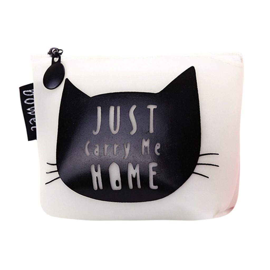 Start Womens Small Wallet Girls Cute Fashion Snacks Coin Purse Wallet Bag Change Pouch Key Holder (Large, MEOW White)