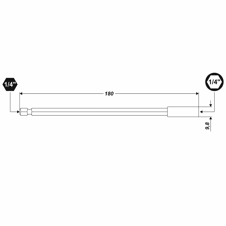 Verl/ängerung 180mm Bithalter 1//4 Zoll Magnet Bitaufnahme