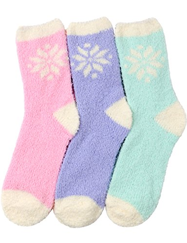 HASLRA Snow Flower Soft Warm Microfiber Fuzzy Socks 3 Pairs (SNOW FLOWER)