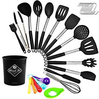 Silicone Cooking Utensil Set, Digcreat Kitchen Tools 33 Pcs Set, Non-stick Heat Resistant Kitchenware, Cookware with Stainless Steel Handle - Black