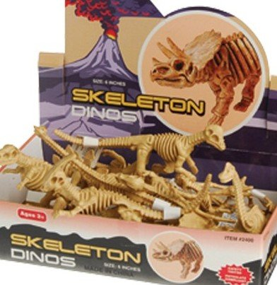 LARGE 6 INCH TOY SKELETON DINOSAURS - 12 PACK!