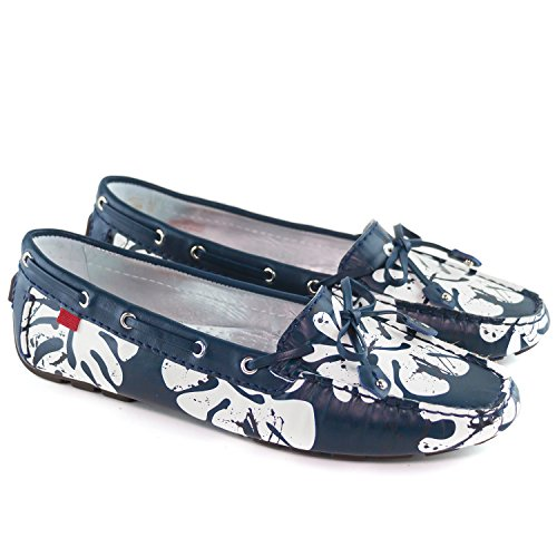 Echtes Leder der Frauen hergestellt in Brasilien-beiläufigen Cypress-Hügel-Fahrer Marc Joseph NY Fashion Shoes Navy Leaf Napa