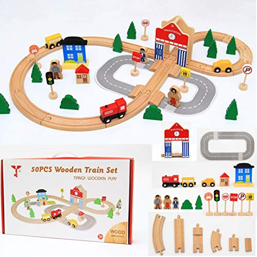 (ZUINIUBI 50pc Wooden Railway Train Track Slot Jigsaw Puzzle Toy for Kids Xmas Gift DIY Educational Game)