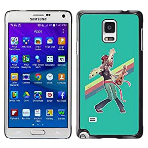 GOODTHINGS Funda Imagen Diseño Carcasa Tapa Trasera Negro Cover Skin Case para Samsung Galaxy Note 4 SM-N910F SM-N910K SM-N910C SM-N910W8 SM-N910U SM-N910 - arco iris lgbt pintura del arte hippie ukelele