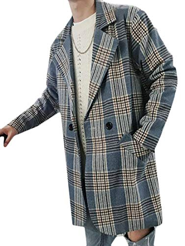 (Cromoncent Mens Casual Autumn Checkered Double Breasted Woolen Pea Coat Overcoat Blue Plaid M)