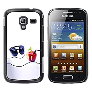 LECELL -- Funda protectora / Cubierta / Piel For Samsung Galaxy Ace 2 I8160 Ace II X S7560M -- Funny Apple Music Player --