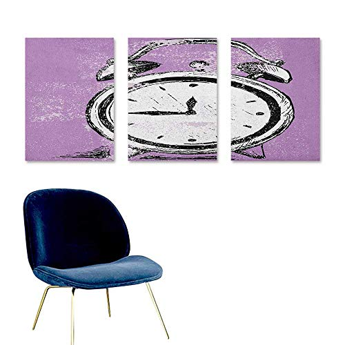 Doodle Oil Painting Modern Wall Art Posters Retro Alarm Clock Figure with Grunge Effects Classic Vintage Sleep Graphic On Canvas Abstract Artwork 3 Panels 16x24inch Purple White Black