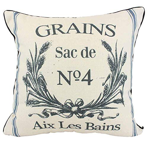 JuniperLab Vintage Farmhouse Grain Sack Cushion Covers French Country Perfume Label Primitive Throw Pillow Cases 16'' Rustic Grains (French Country Pillows)
