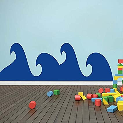 Cute Waves Wall Decal, Ocean Wave Decals, Waves Wall Stickers, Removable  Waves Wall